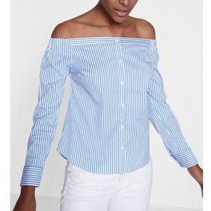 Express Off Shoulder Striped Shirt